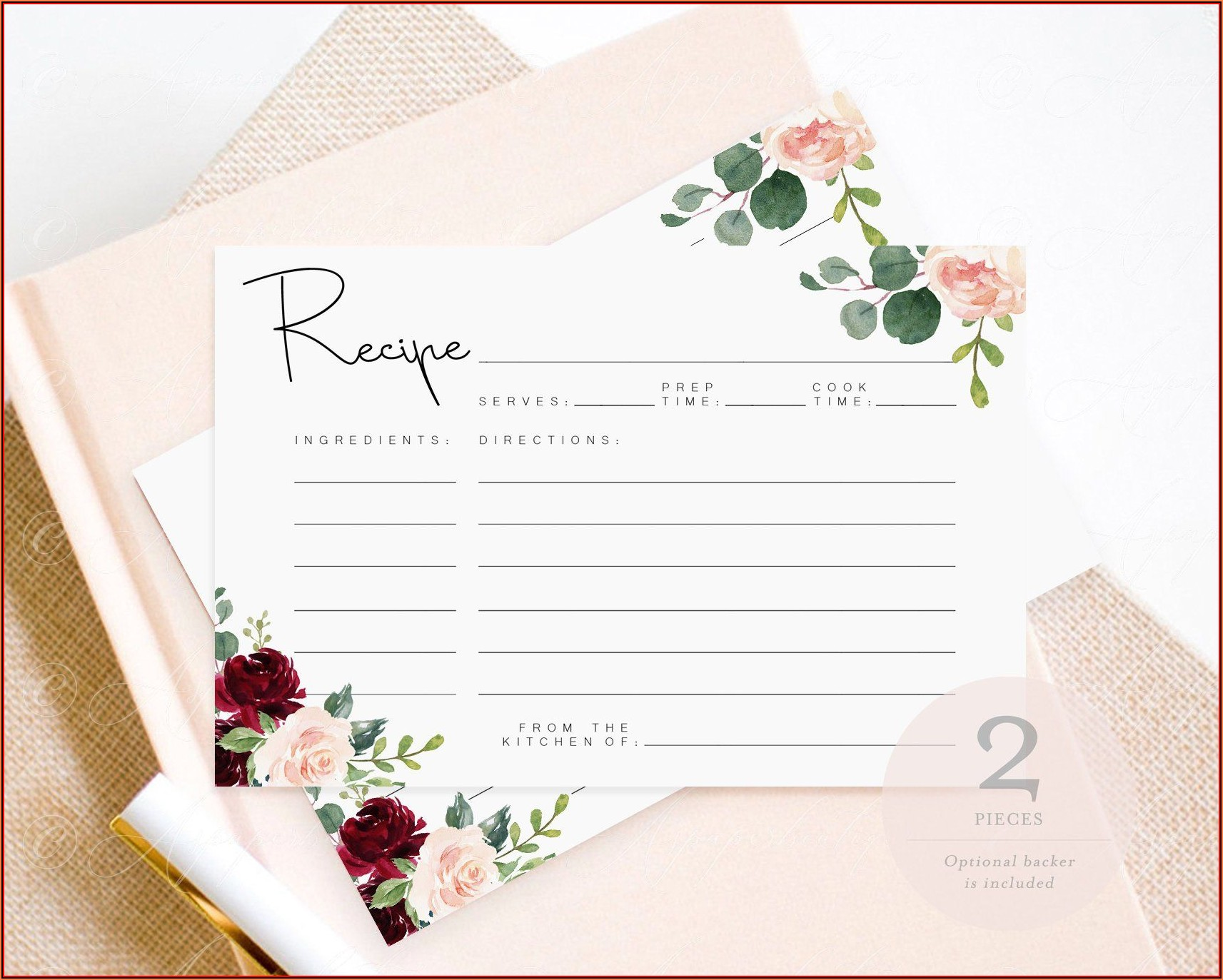 4x6 Printable Recipe Card Template