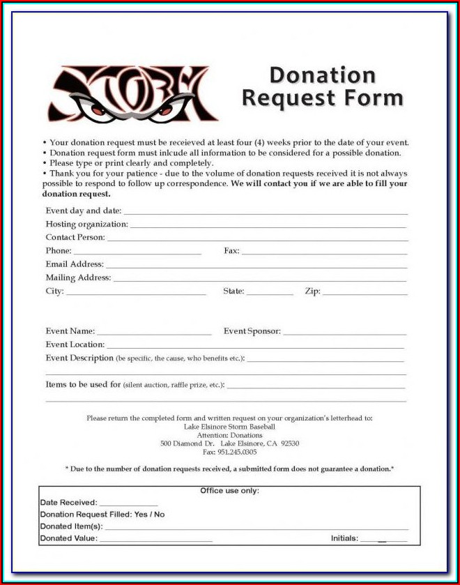 501 C 3 Form For Donations