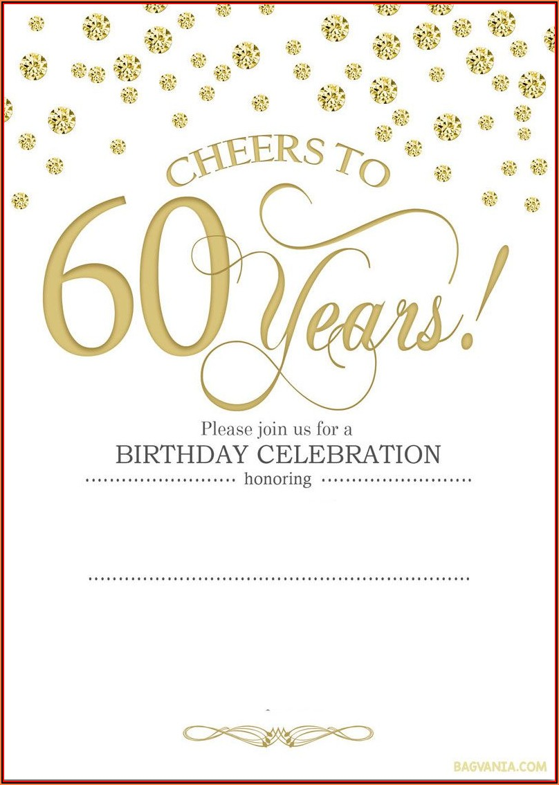 60th Birthday Invitation Card Templates Free Download