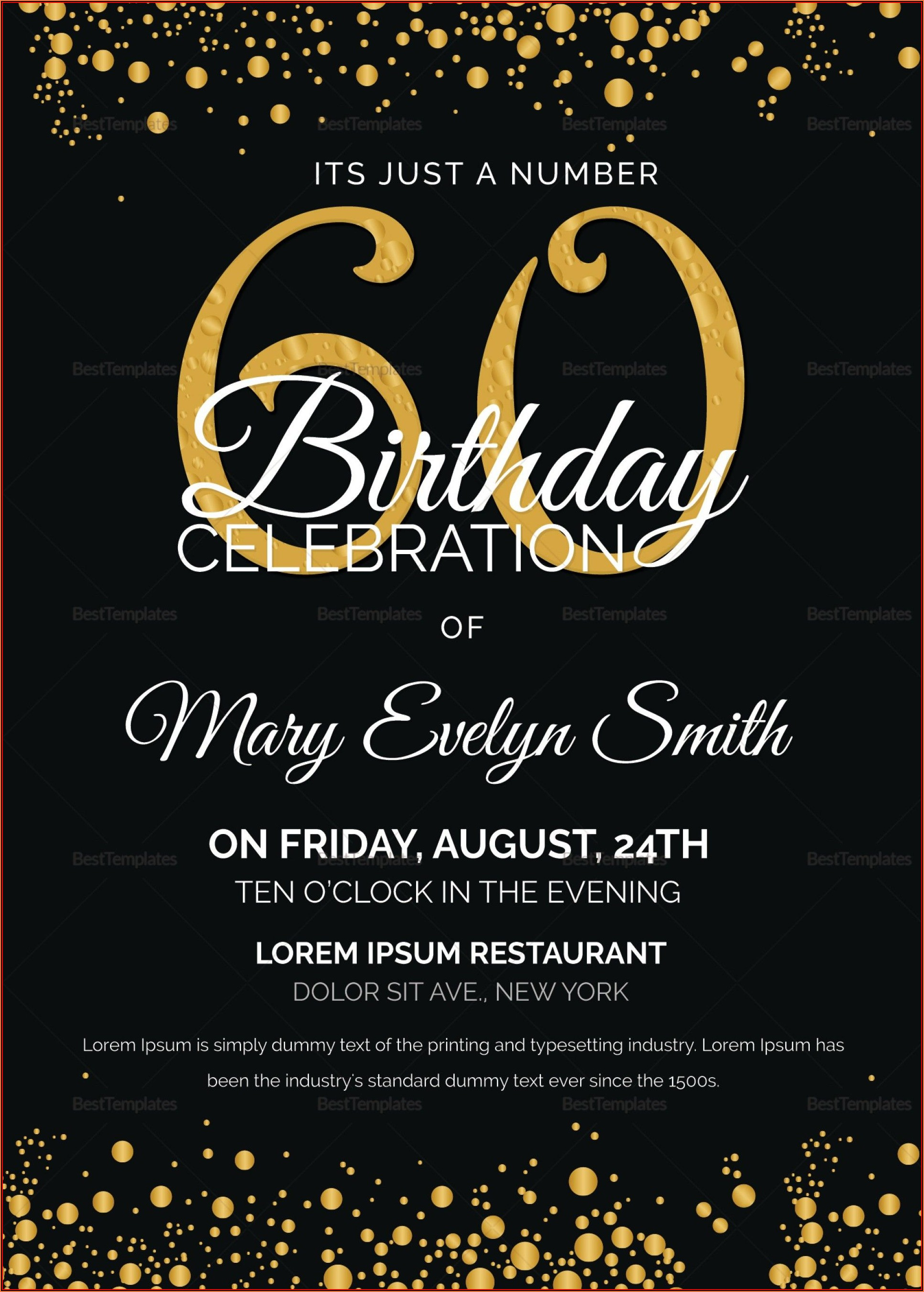60th Birthday Invites Free Template
