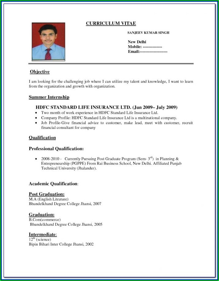 A Perfect Resume Format For Freshers