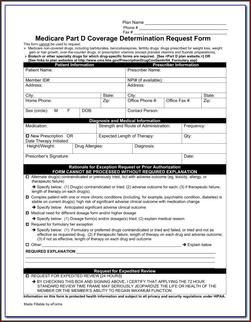 Aarp Prior Authorization Form For Medication