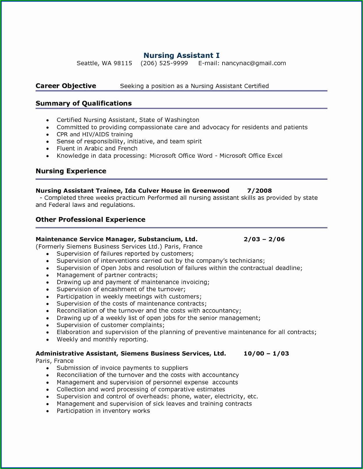 Absolutely Free Resume