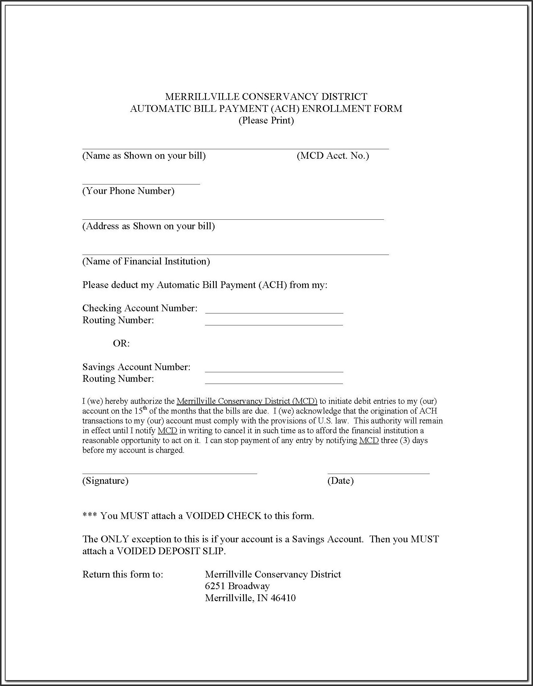 Ach Enrollment Form Template