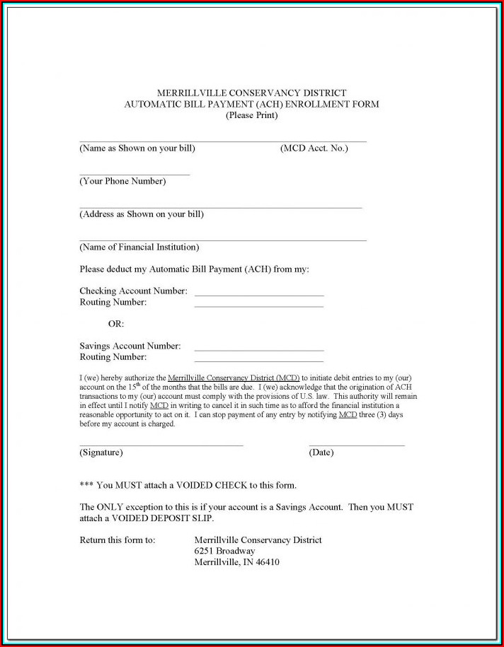 Ach Enrollment Forms For Vendors