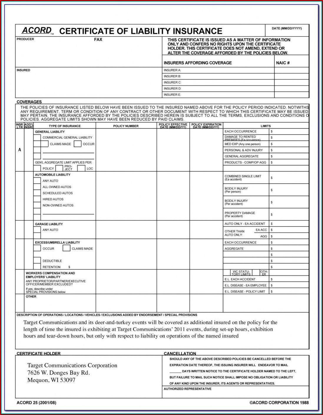 Acord Certificate Of Insurance Form Download