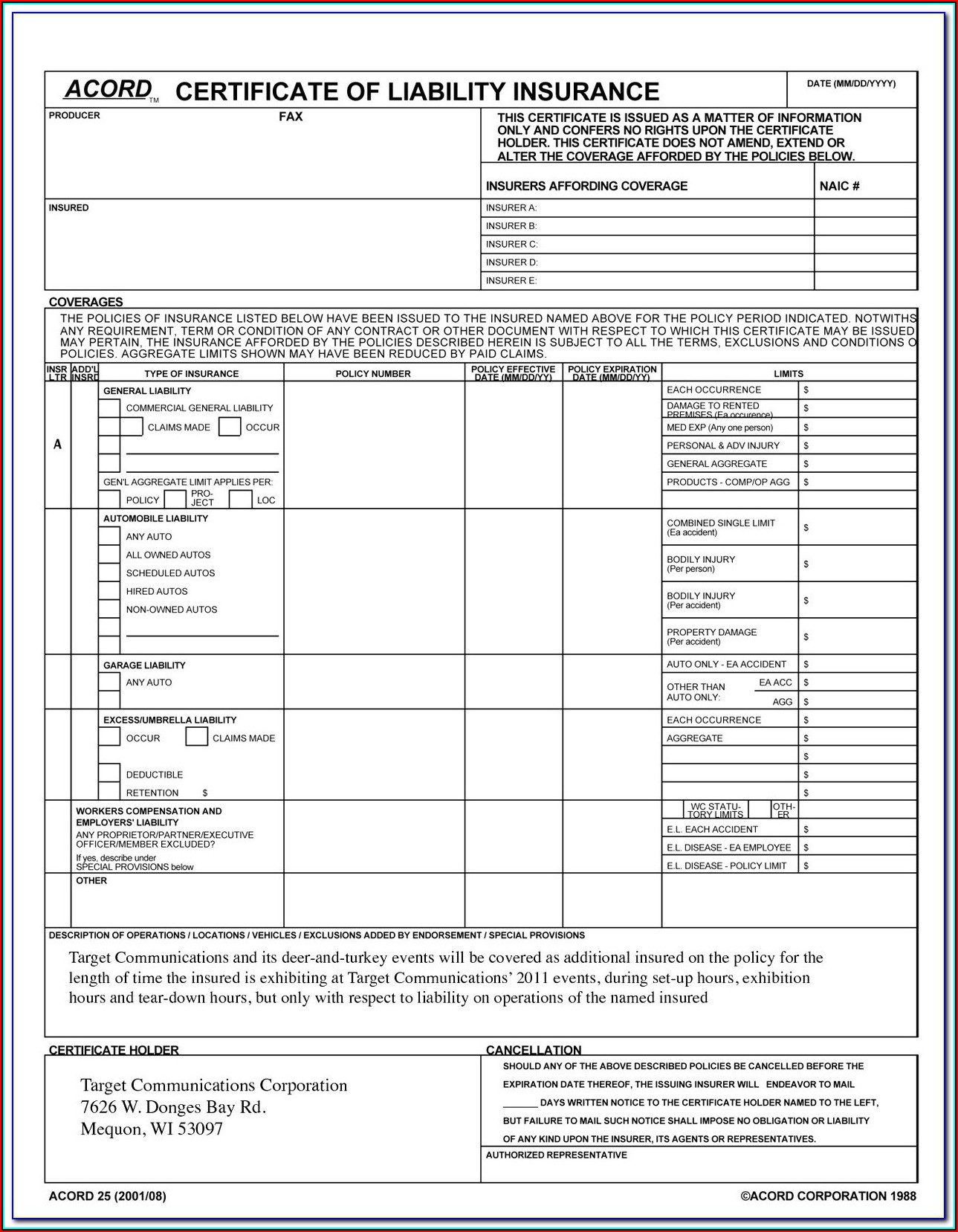 Acord Certificate Of Insurance Form Pdf