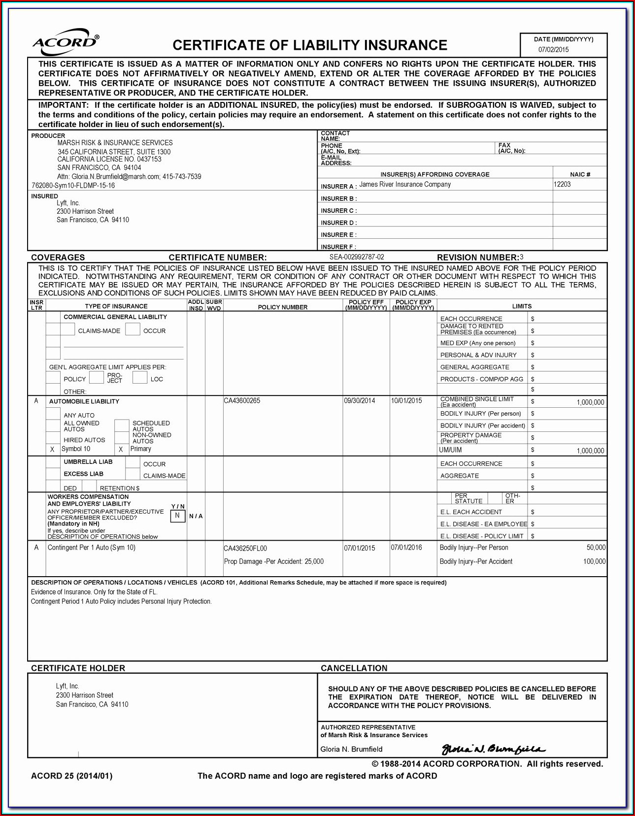 Acord Certificate Of Insurance Form Template