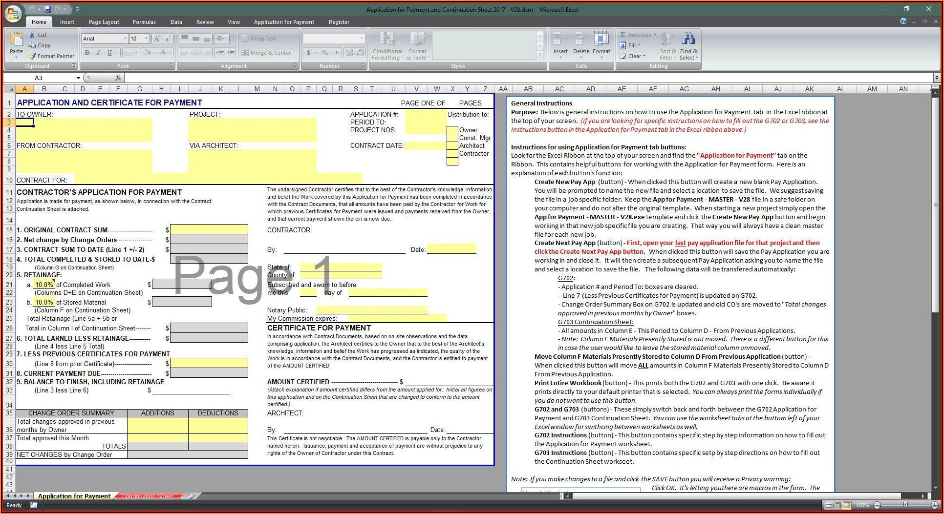 Aia G703 Excel Template Free
