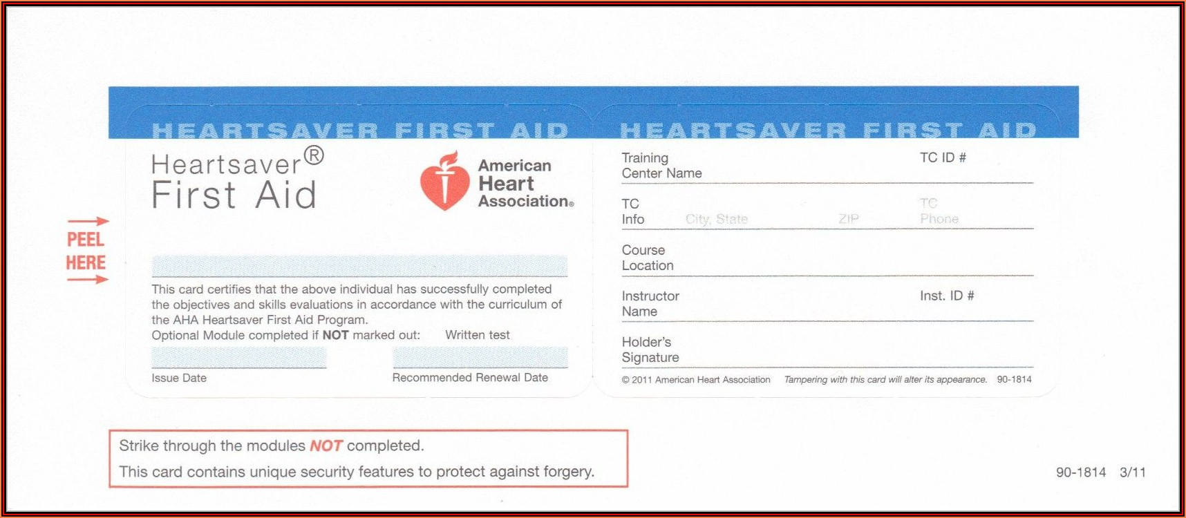 American Heart Association Cpr Card Printing Template