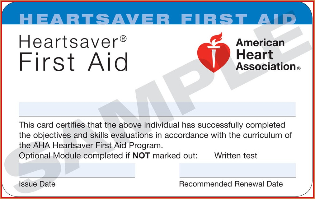 American Heart Association Heartsaver Cpr Card Template