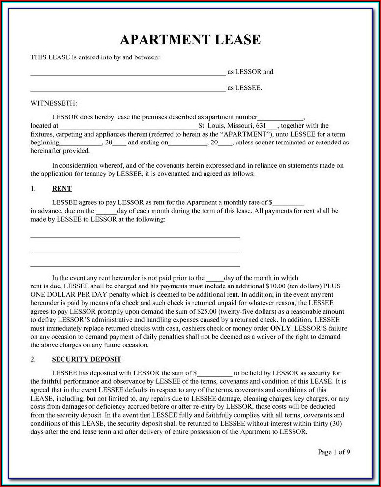 Apartment Lease Form Chicago