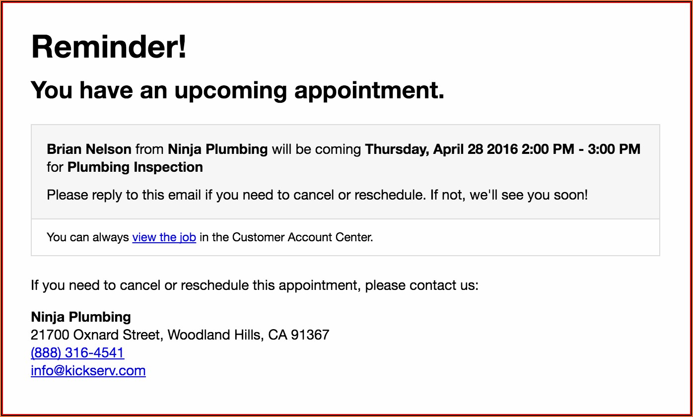 Appointment Reminder Email Examples