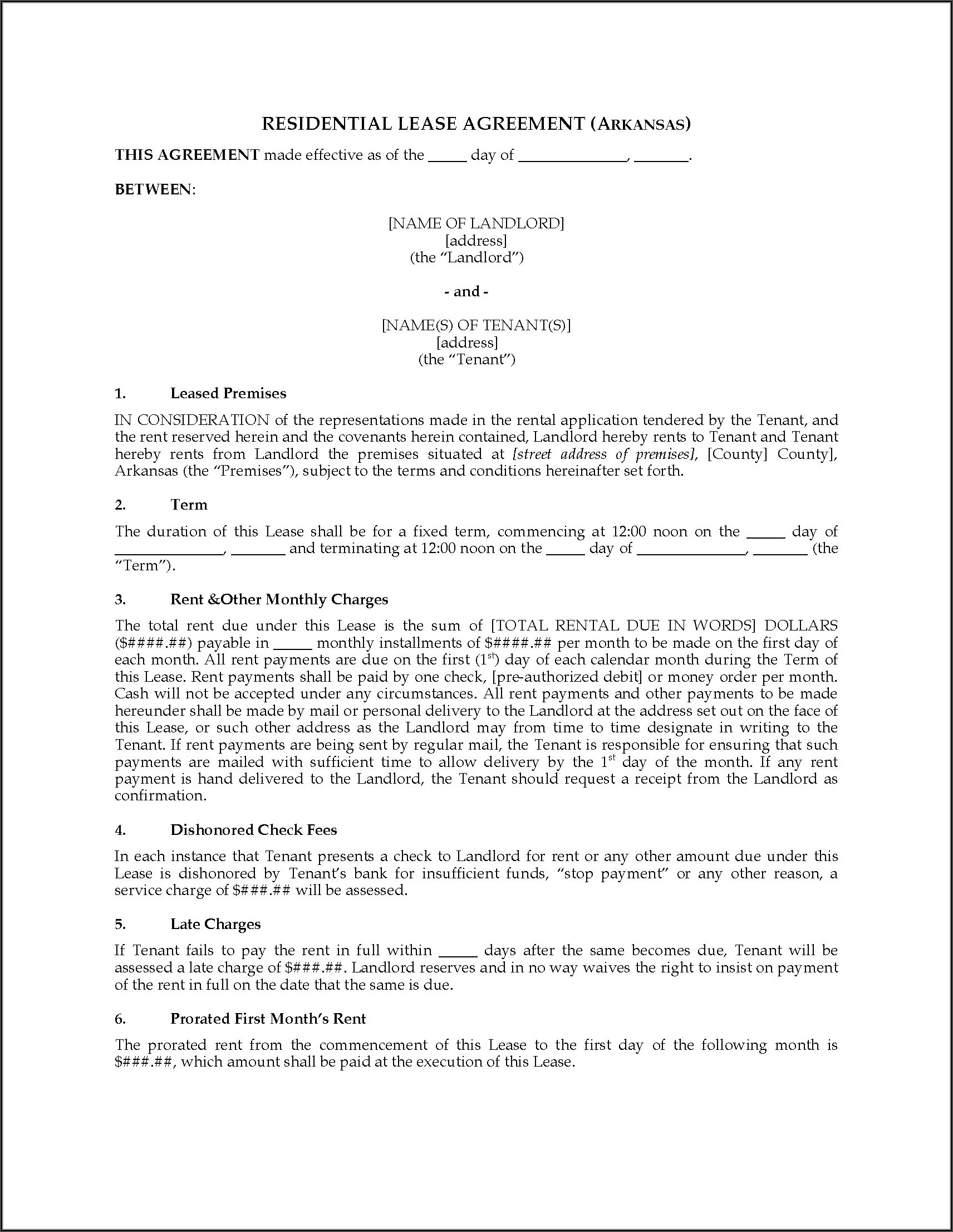 Arkansas Lease Agreement Forms