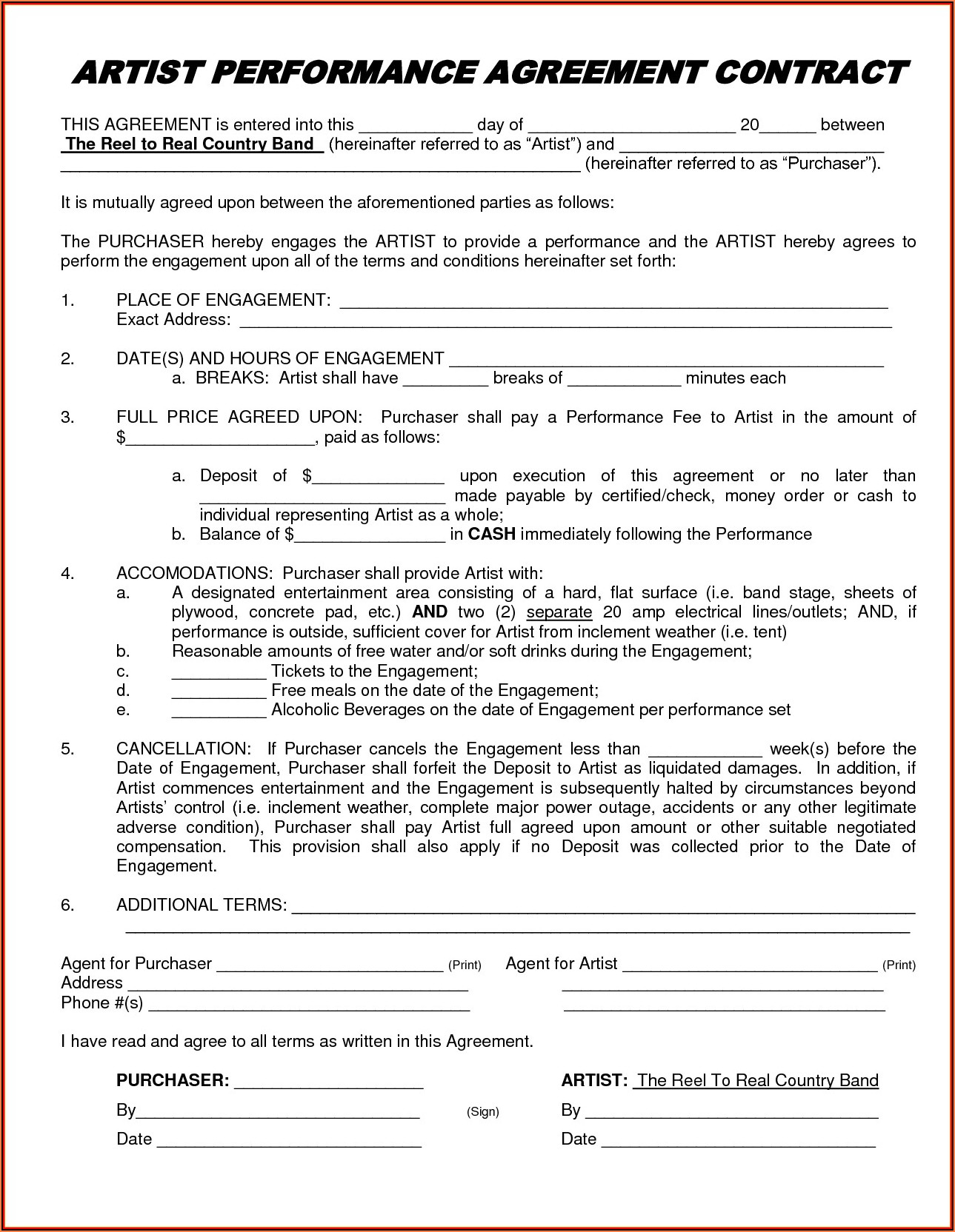 Artist Performance Agreement Contract Template