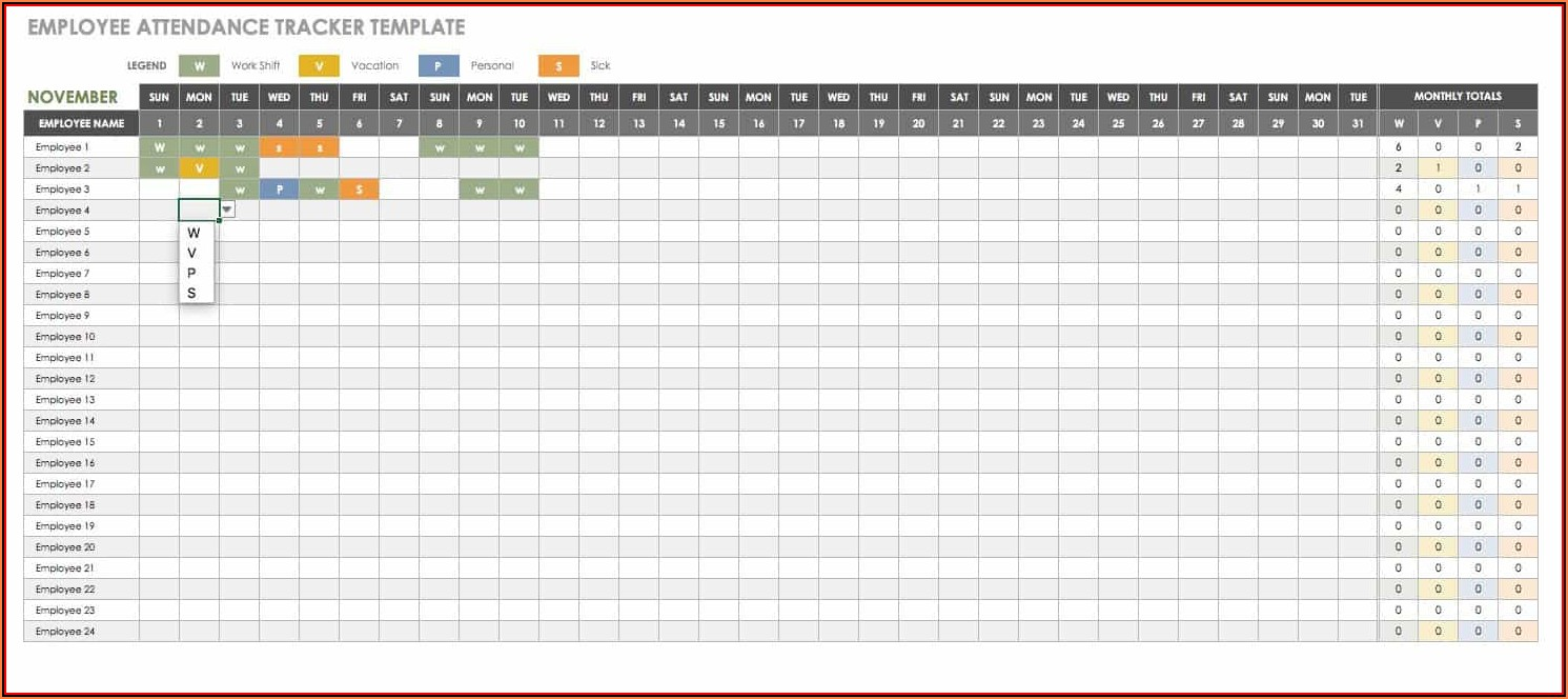 Attendance Tracker Template Excel