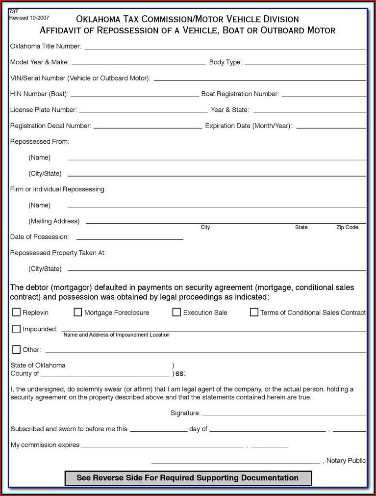 Auto Lien Release Form Oklahoma