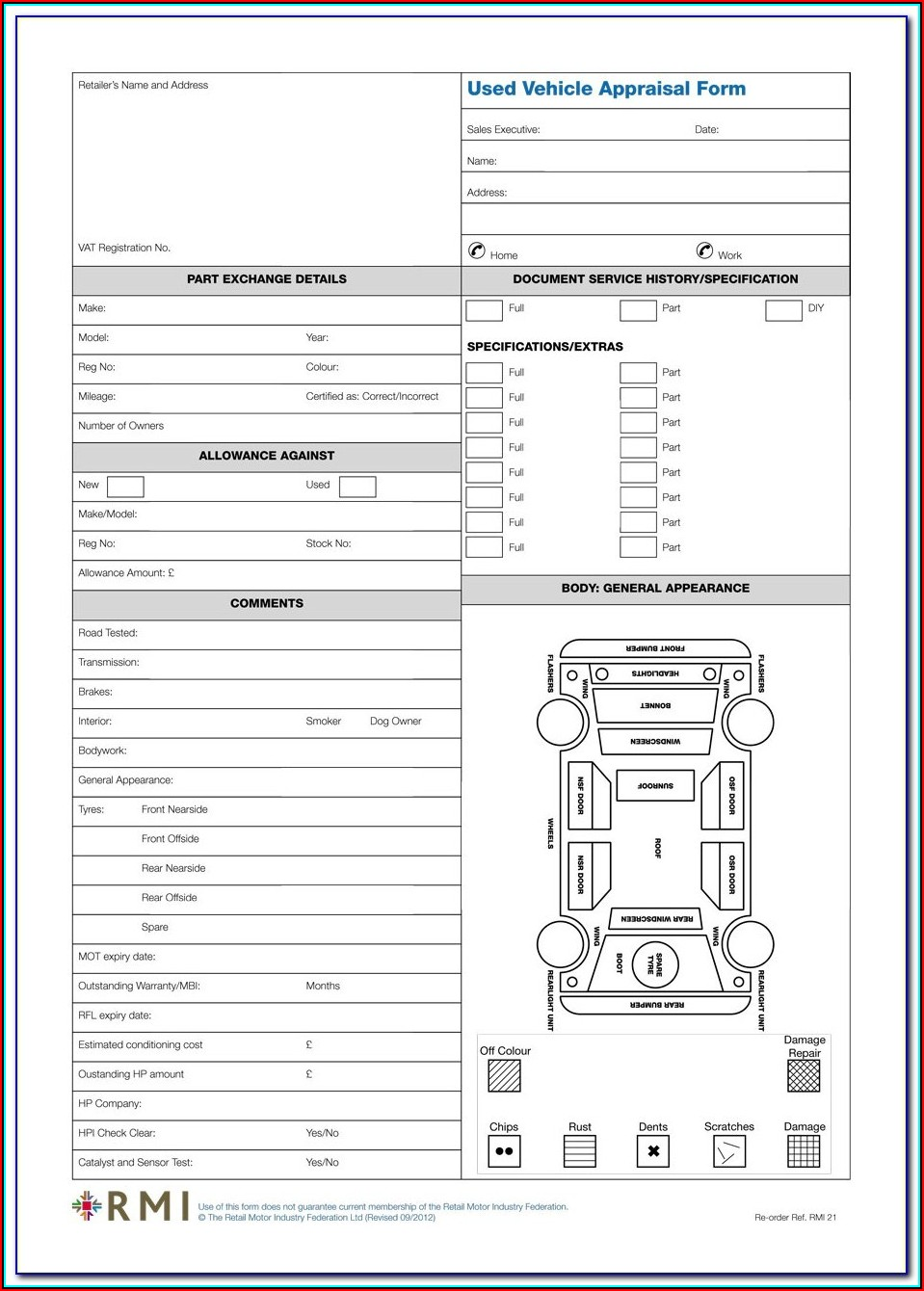 Automobile Appraisal Form