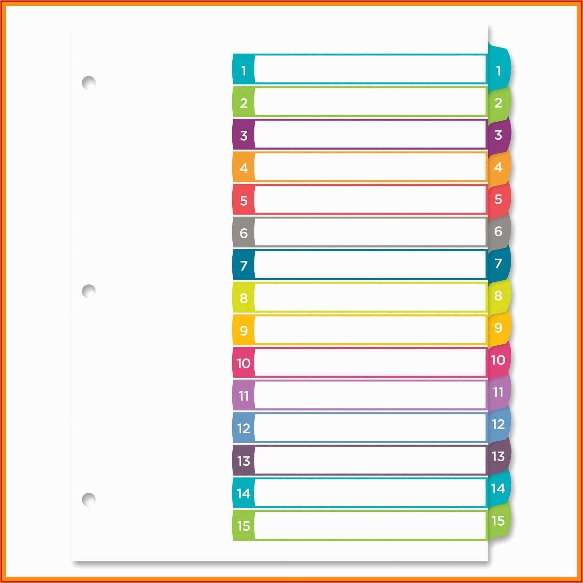 Avery 8 Big Tab Divider Template