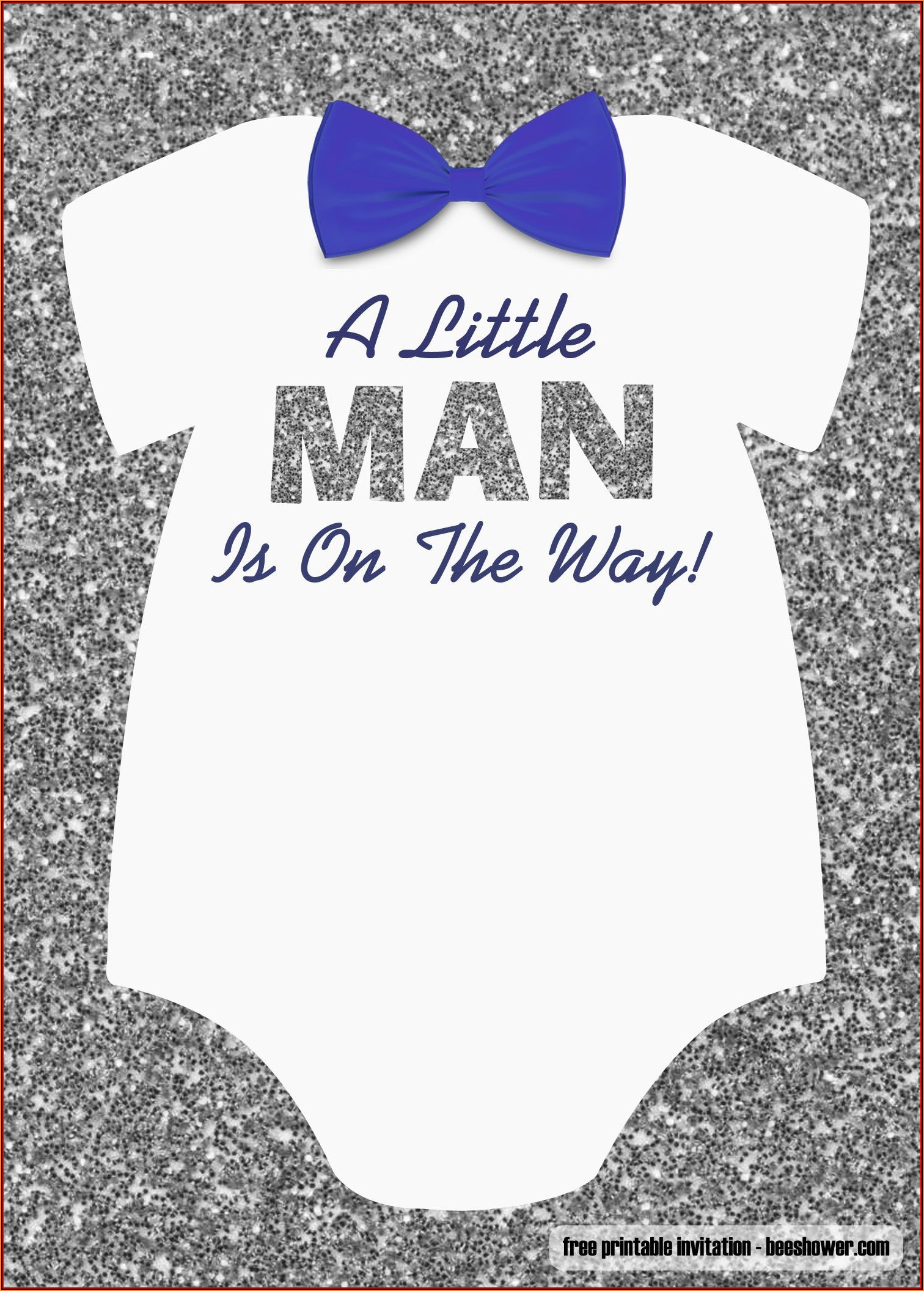 Baby Boy Onesie Invitation Template