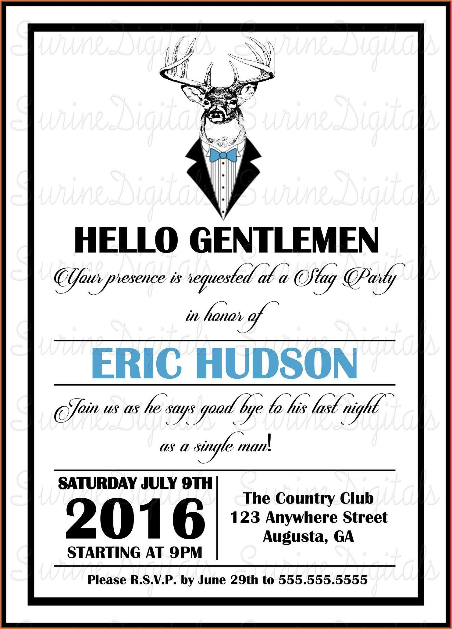 Bachelor Party Invitation Format