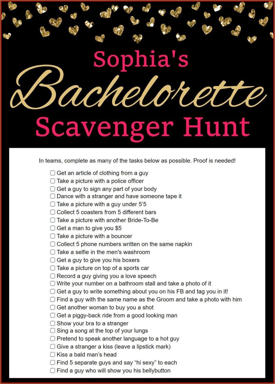 Bachelorette Scavenger Hunt Printables