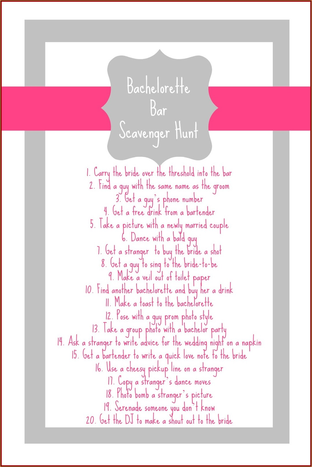 Bachelorette Scavenger Hunt Template Editable Free