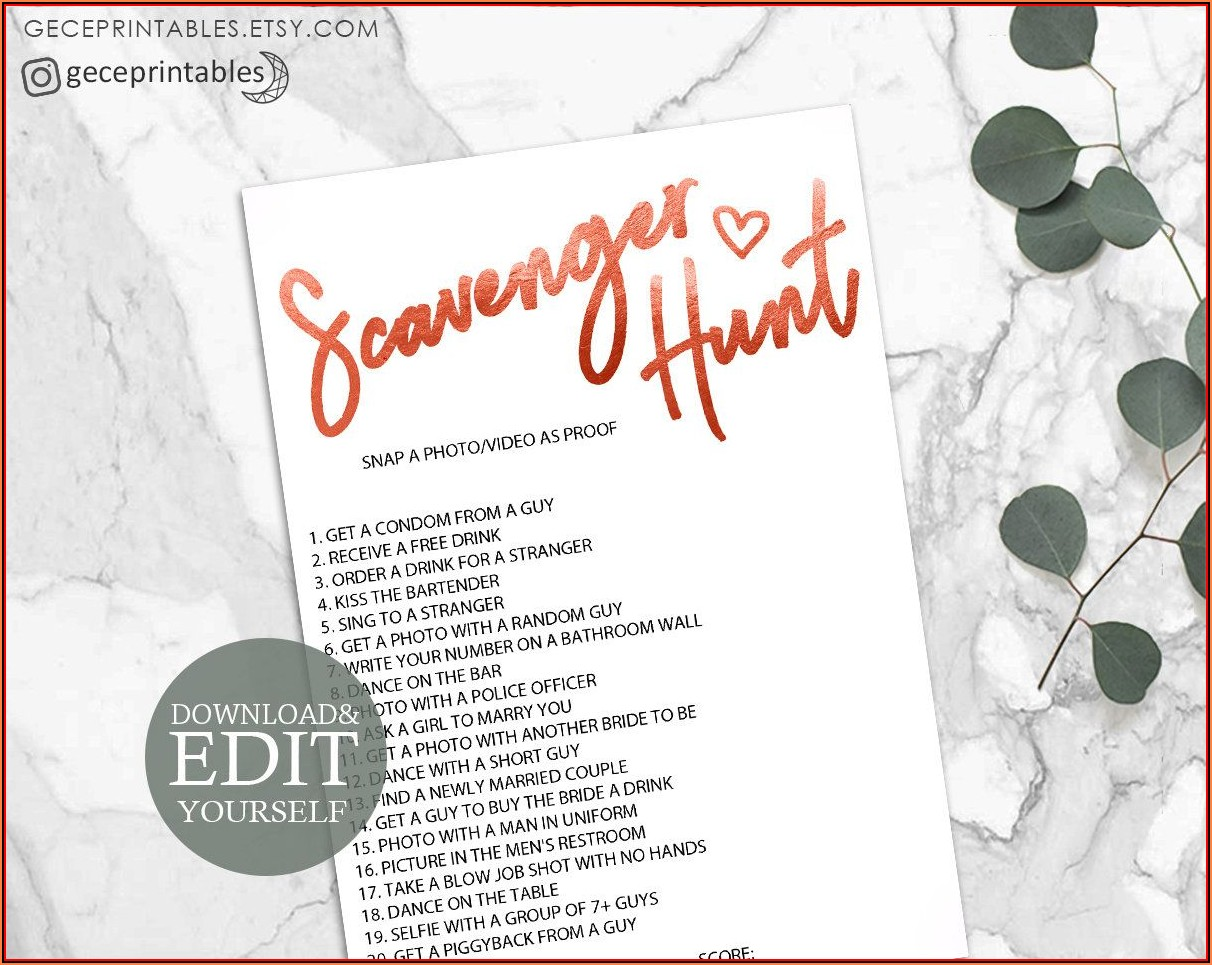 Bachelorette Scavenger Hunt Template Editable