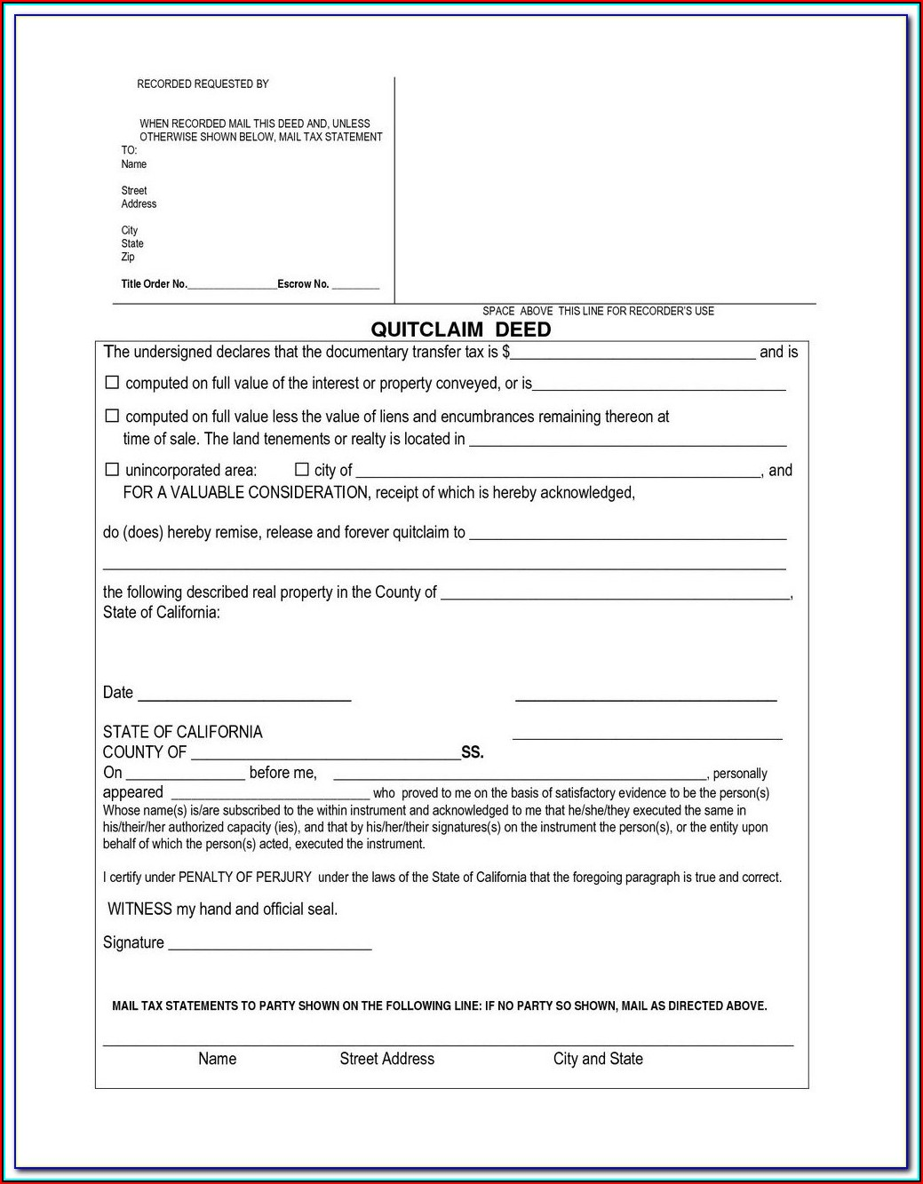 Baltimore City Quit Claim Deed Form