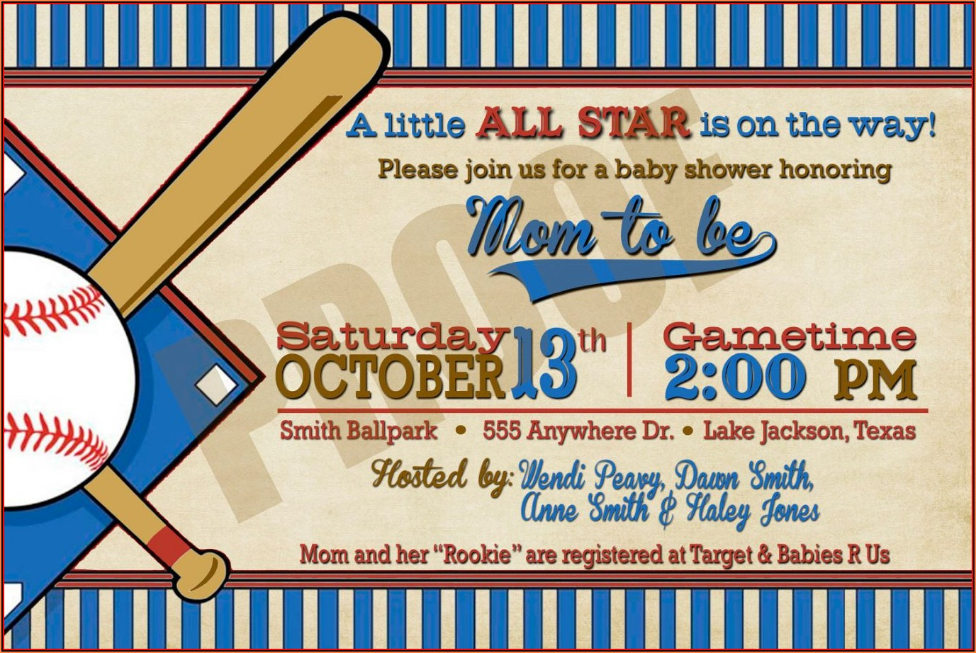 Baseball Baby Shower Invitations Templates