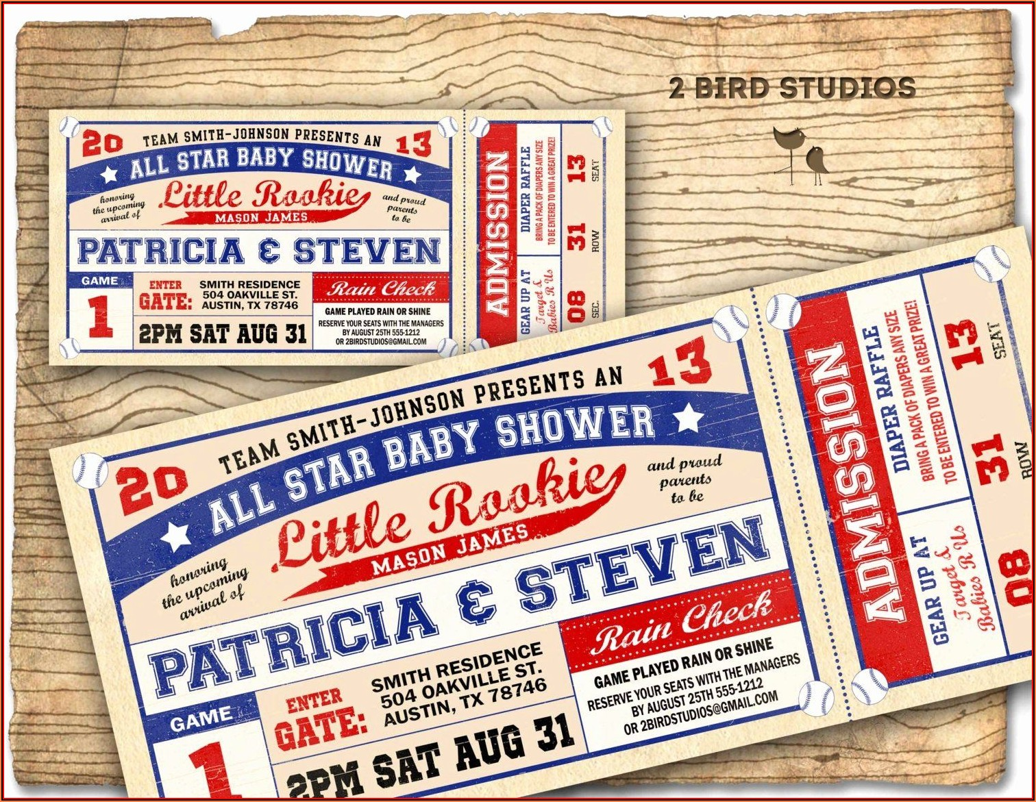 Baseball Ticket Baby Shower Invitations Template