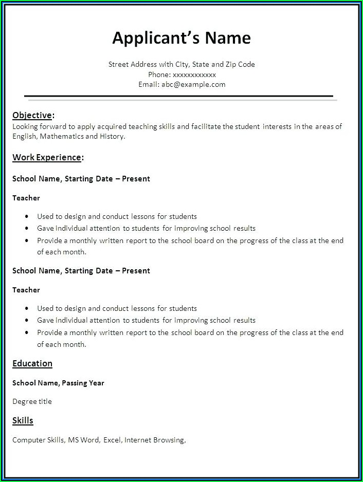 Basic Job Resume Templates