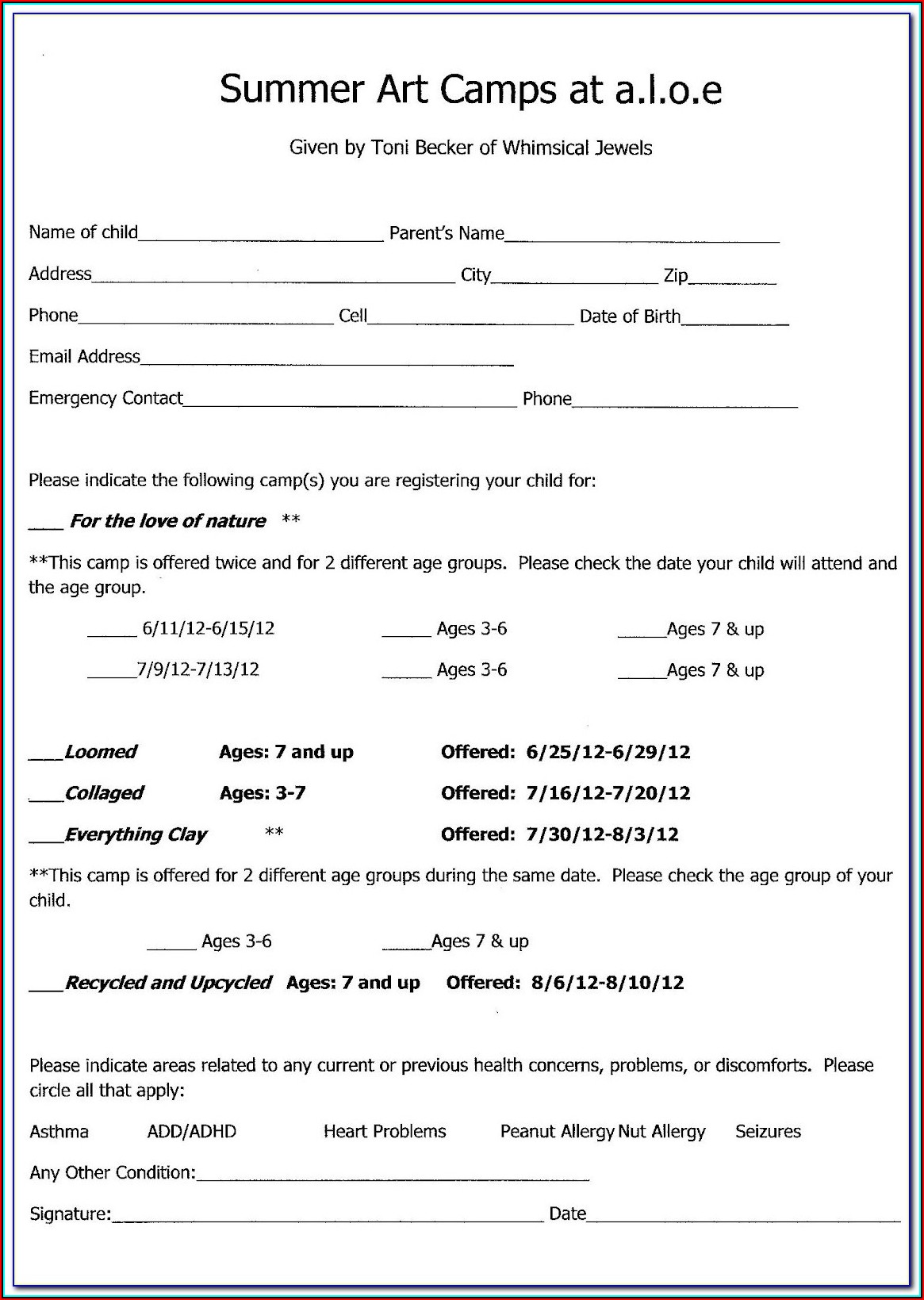Basketball Camp Registration Form Template