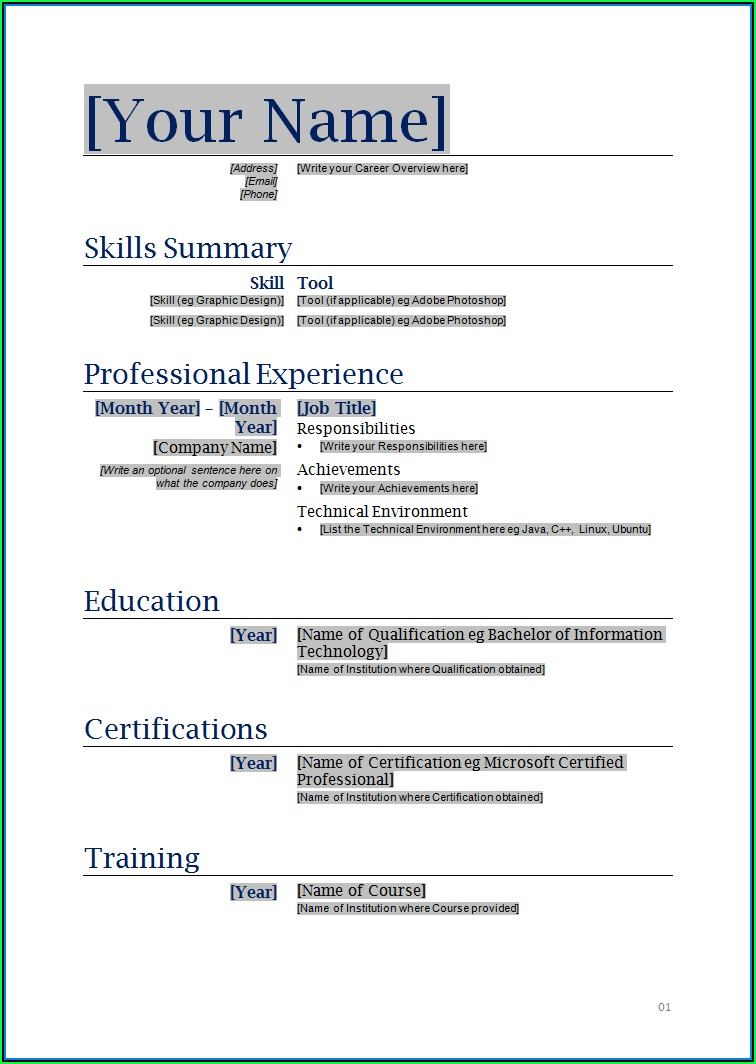 Best Resume Templates Download Word