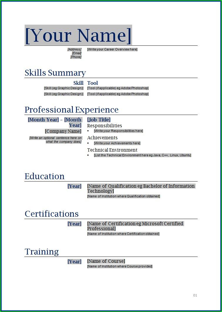 Best Resume Templates Download Word
