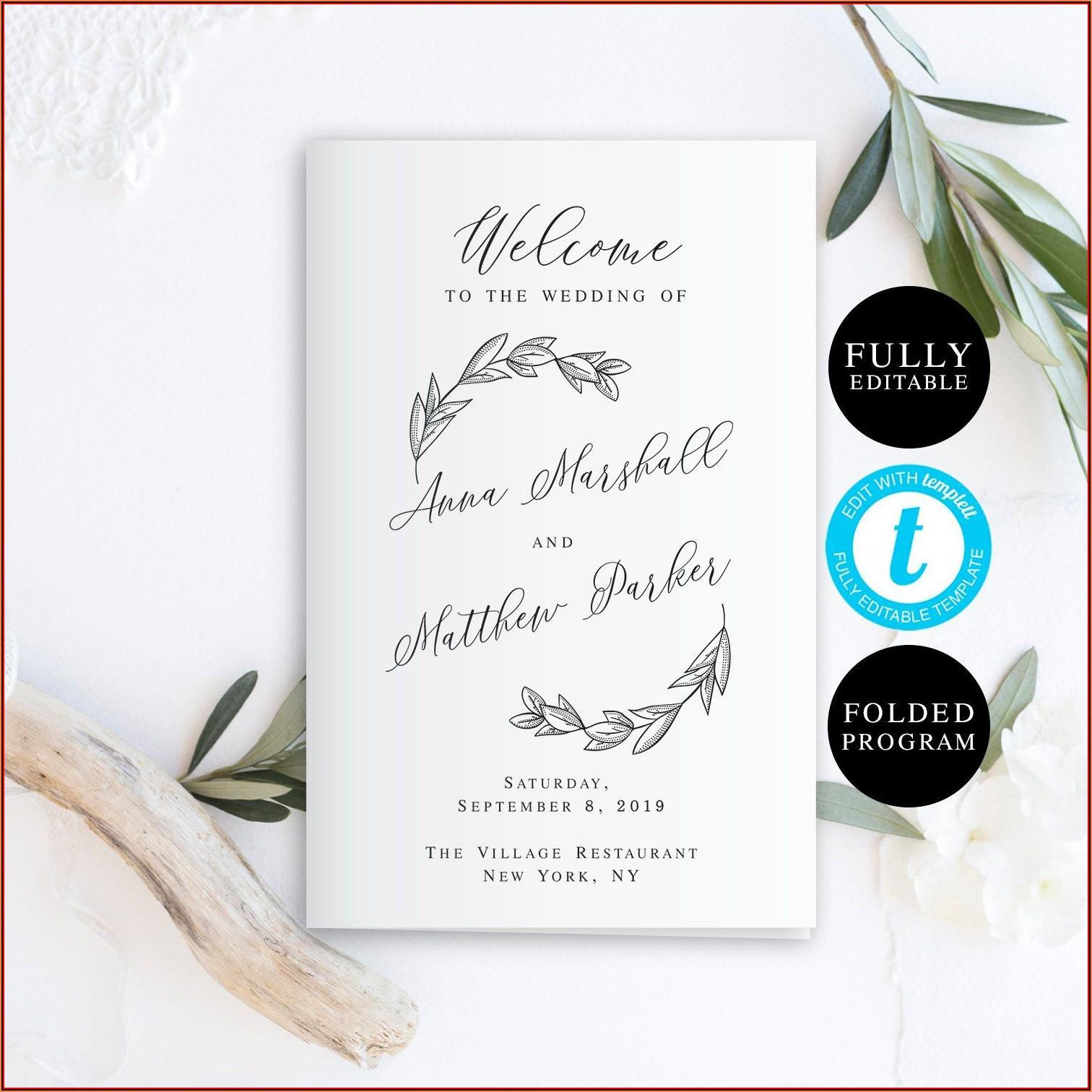 Bi Fold Wedding Program Template