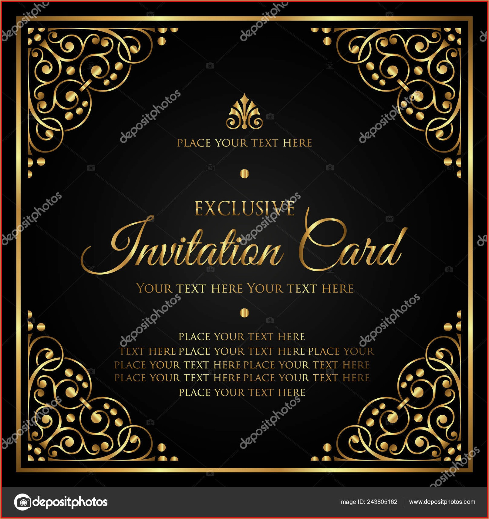 Black And Gold Invitation Card Template
