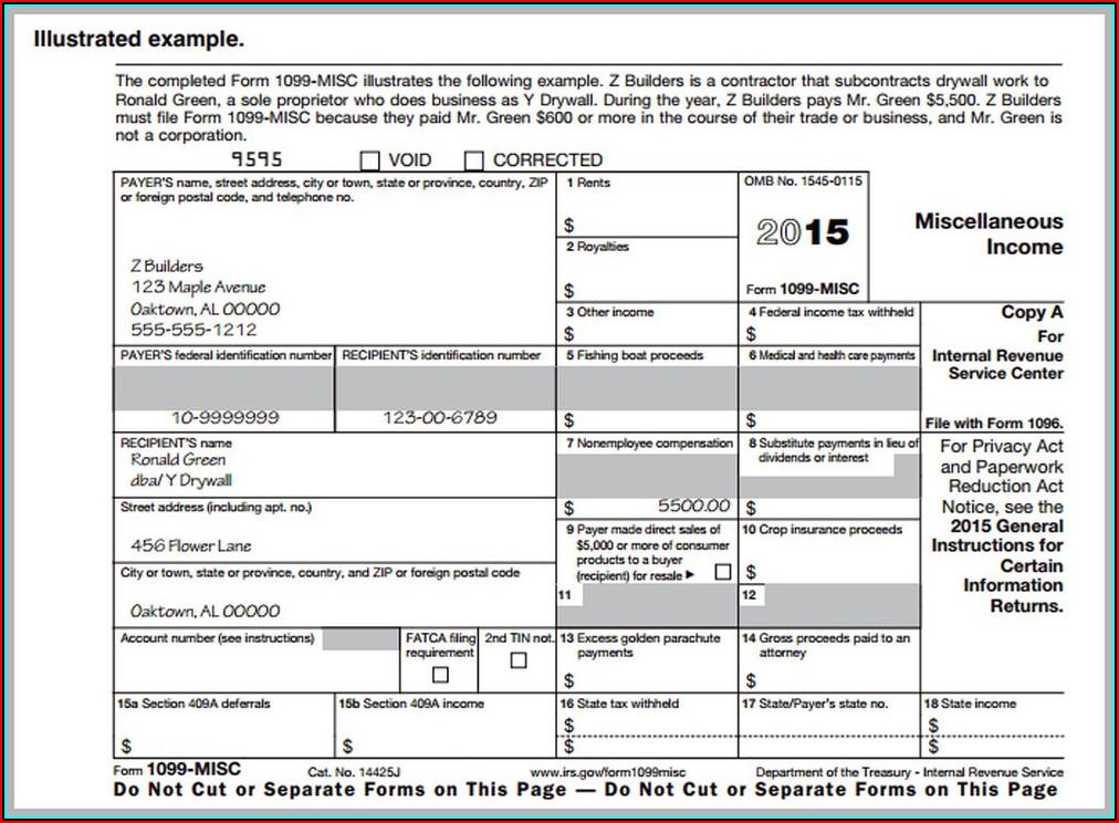 Blank 1099 Misc Form Printable