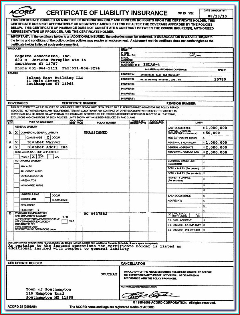 Blank Acord Certificate Of Insurance Form