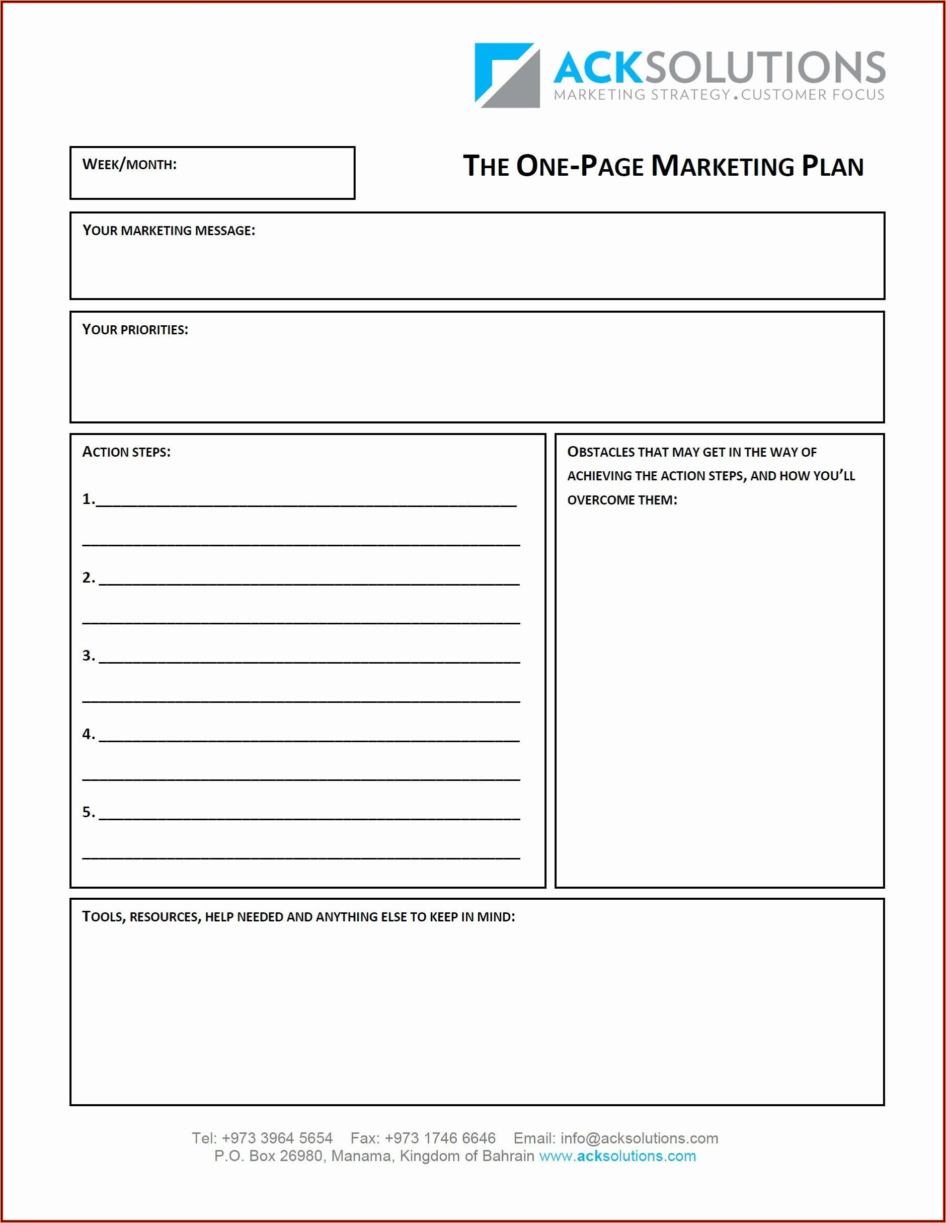 Blank Business Plan Template Pdf