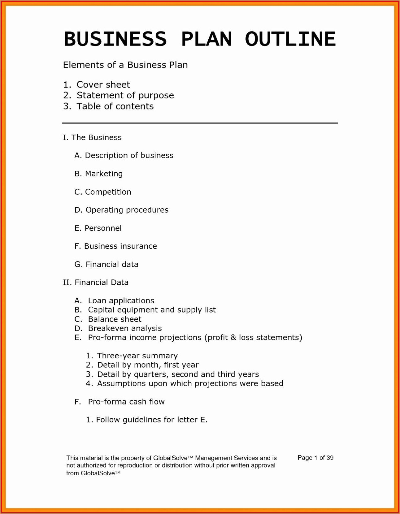 Blank Business Plan Template Word Free