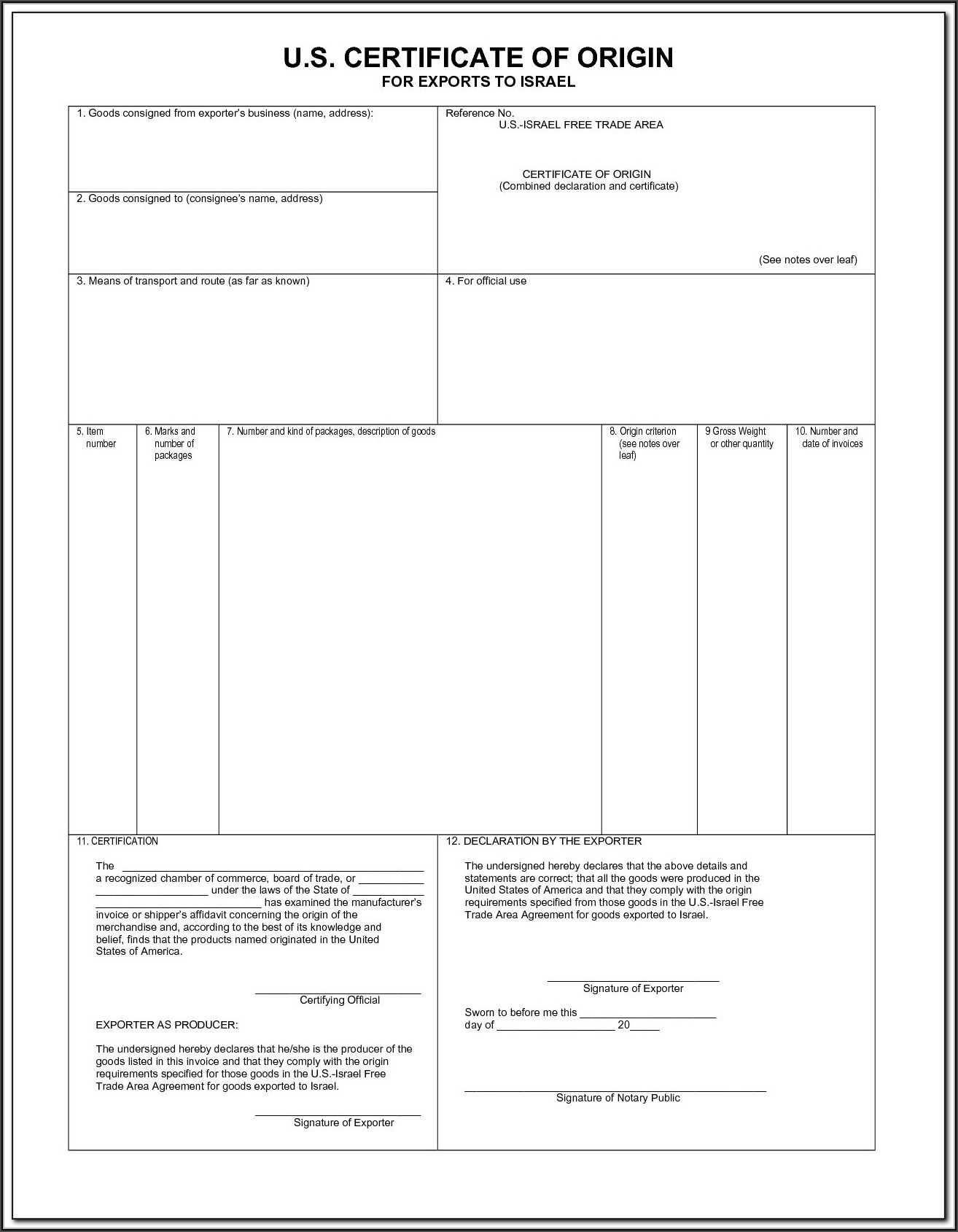 Blank Certificate Of Origin Form Pdf