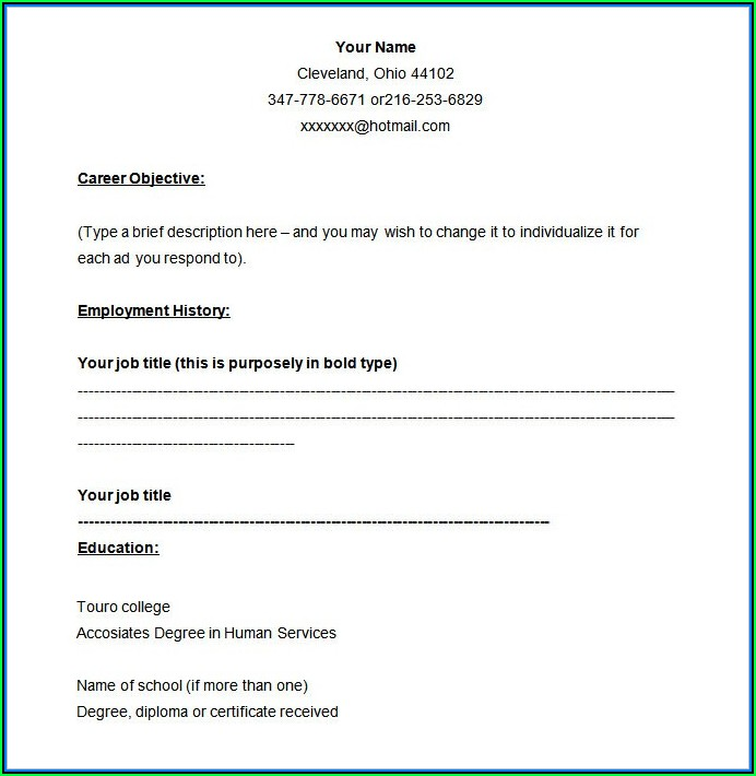 Blank Cv Format Free Download