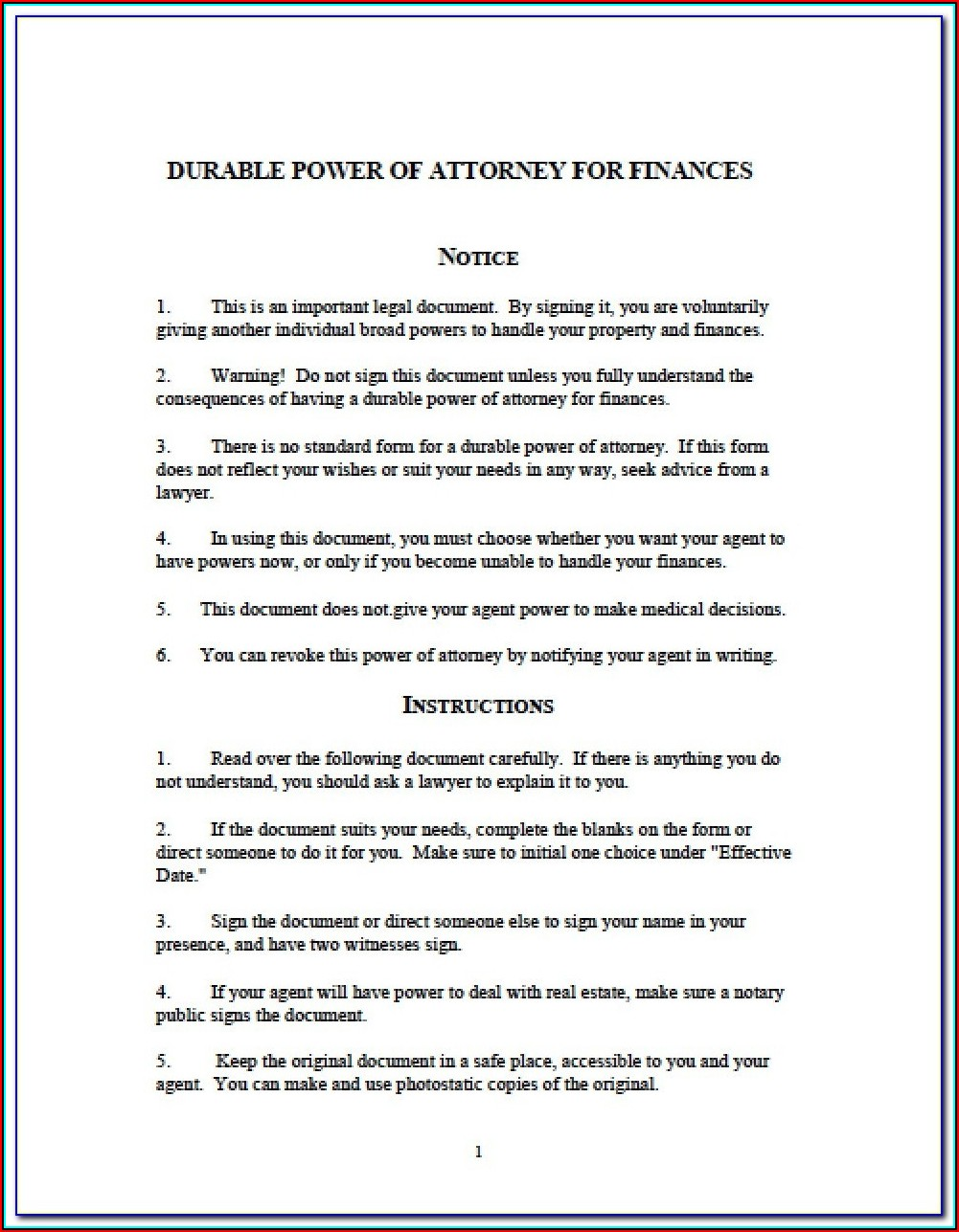 Blank Durable Power Of Attorney Form Washington State