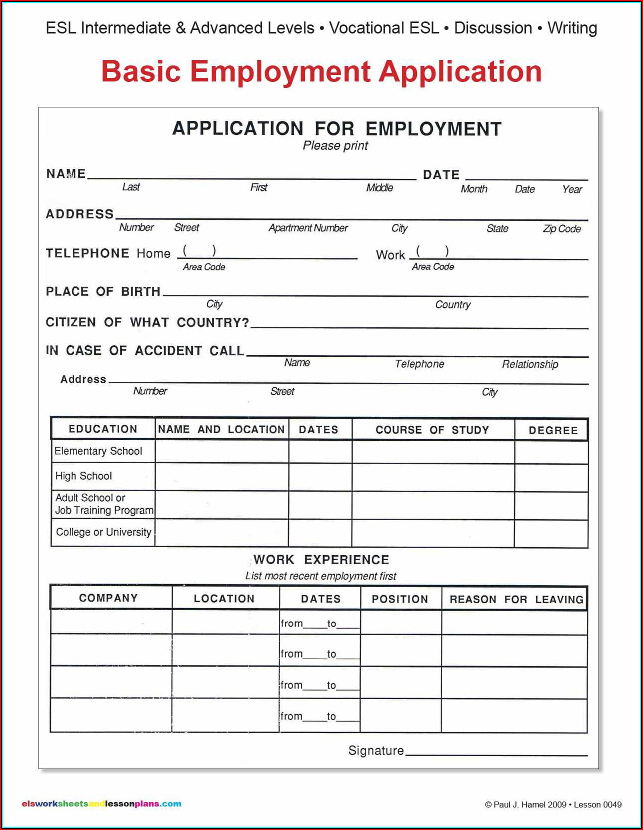 Blank Employment Application Form Pdf