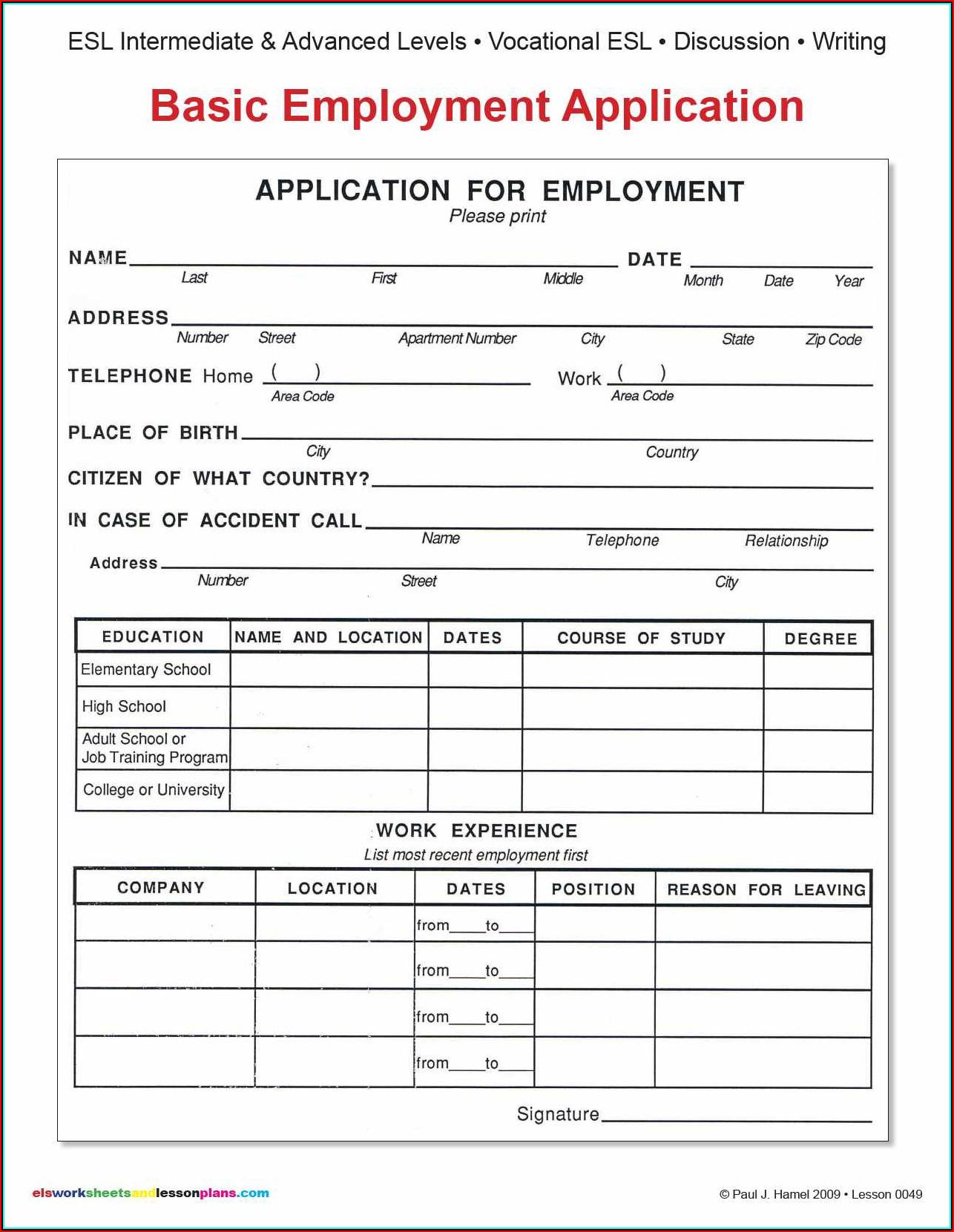 Blank Employment Application Form Pdf