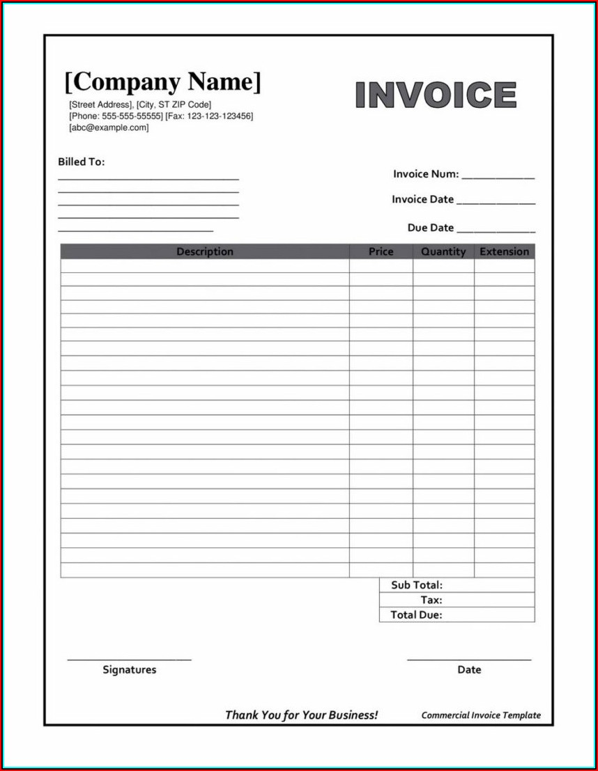 Blank Invoice Template Free Printable
