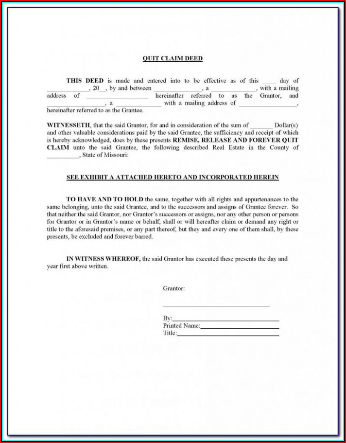 Blank Quit Claim Deed Form Missouri