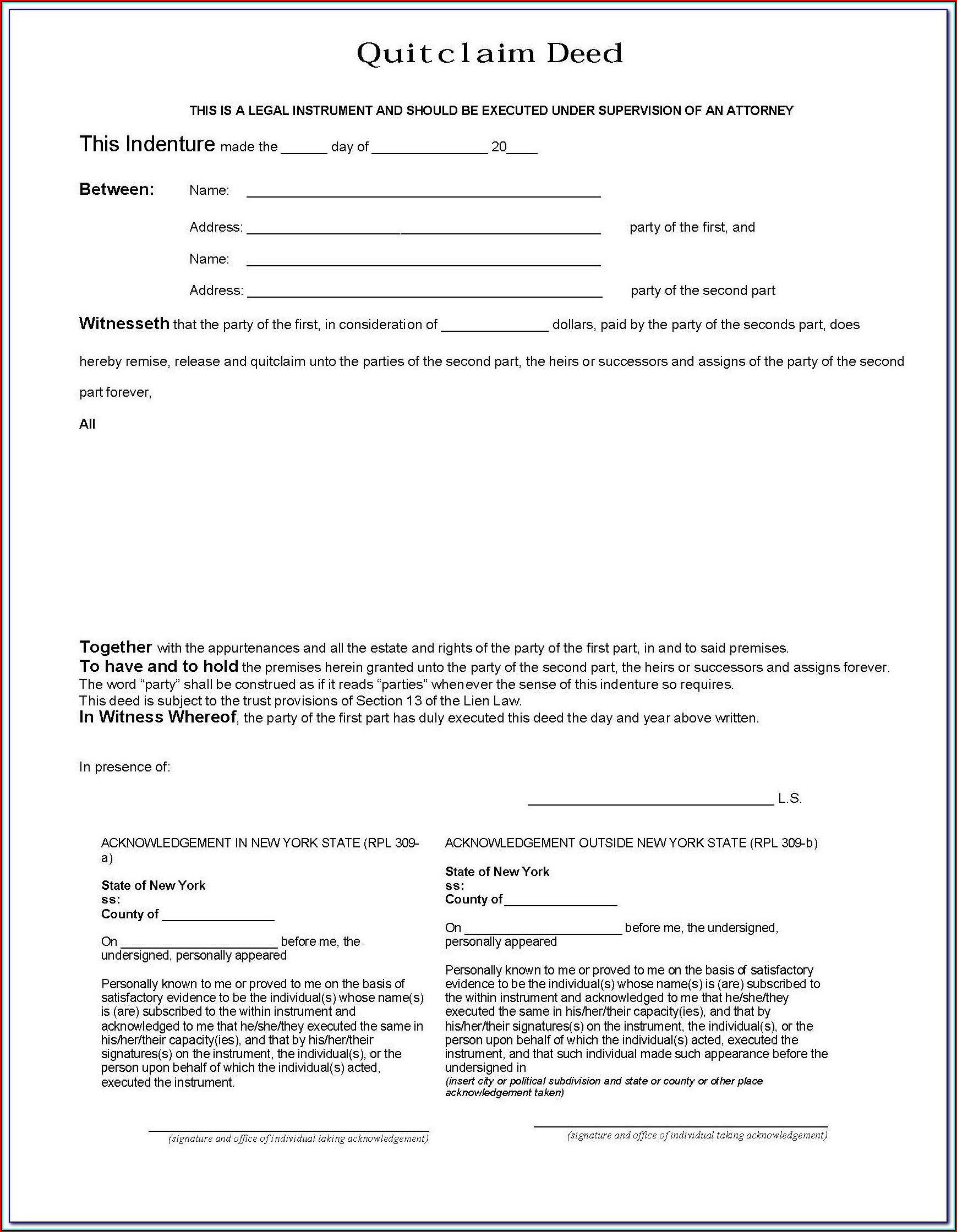 Blank Quit Claim Deed Form New York