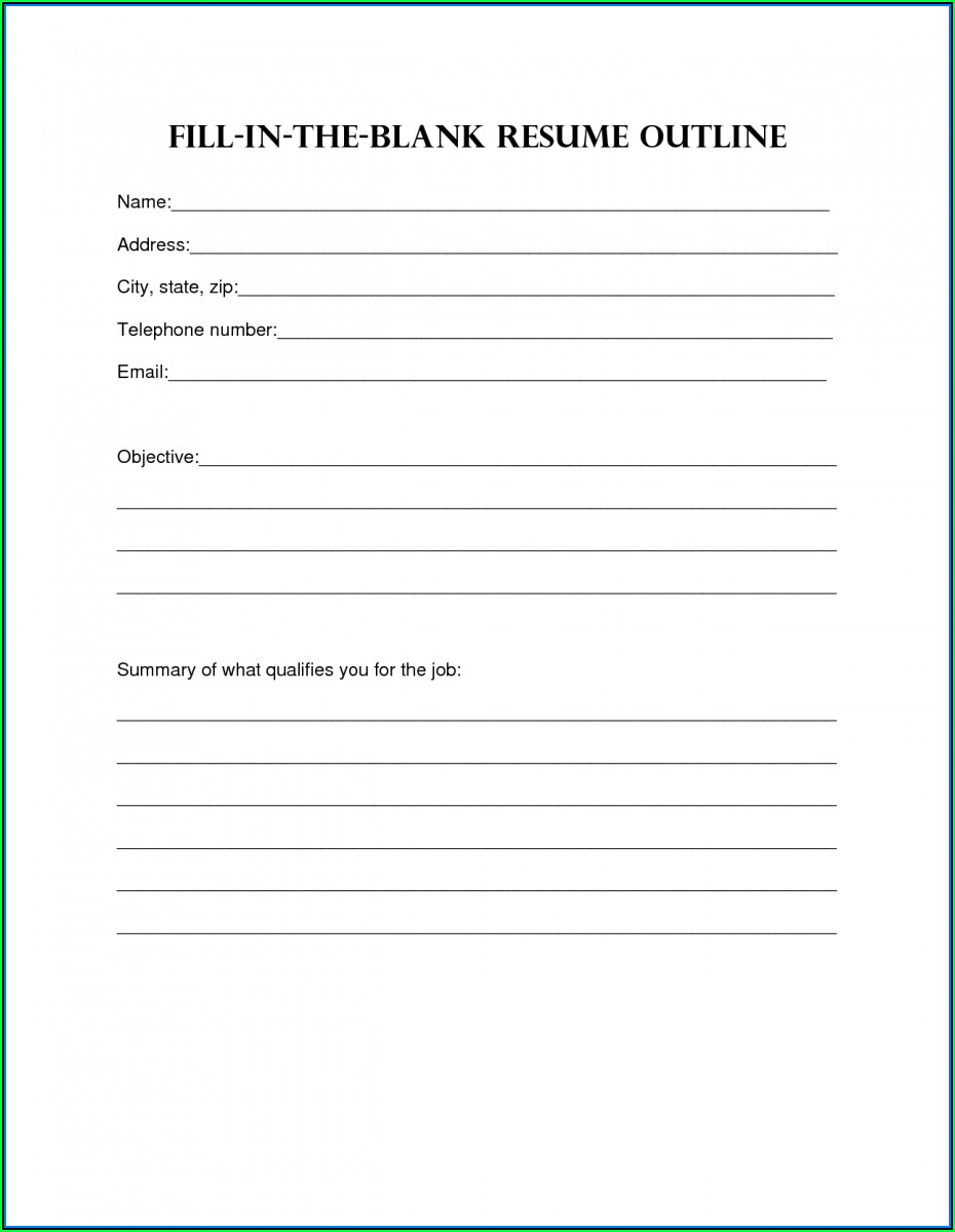 Blank Resume Outline